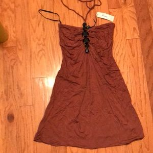 Sky halter dress in rust brown